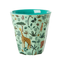 Rice Medium Green Cup with Jungle Print