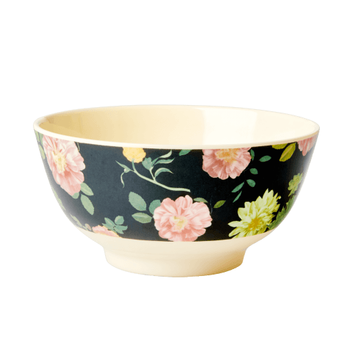 Rice Medium Melamine Bowl - Dark Rose Print