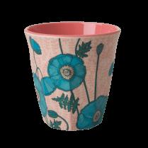 Rice Medium Melamine Cup - Blue Poppy Print