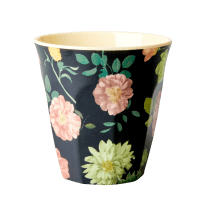 Rice Medium Melamine Cup - Dark Rose Print