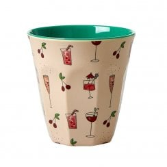 Rice Medium Melamine Cup - Pink Cocktail Print