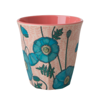 Rice Medium Melamine Cup With Blue Poppy Print