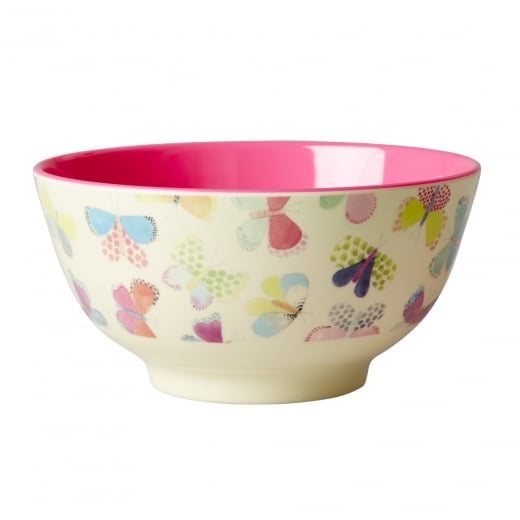 Rice Medium Two Tone Melamine Bowl With Butterfly Print