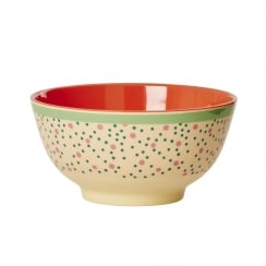 Rice Medium Two Tone Melamine Bowl With Connecting The Dots Print