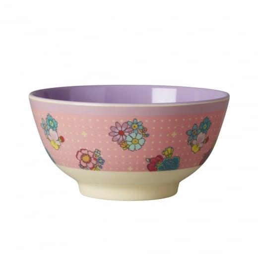 Rice Medium Two Tone Melamine Bowl With Flower Stitch Print