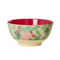 Rice Medium Two Tone Melamine Bowl With Tropical Print