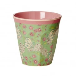 Rice Medium Two Tone Melamine Cup With Butterfly & Flower Print