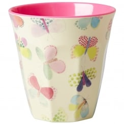 Rice Medium Two Tone Melamine Cup With Butterfly Print