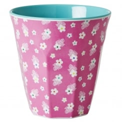 Rice Medium Two Tone Melamine Cup With Flower Print