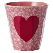Rice Medium Two Tone Melamine Cup With Heart Print
