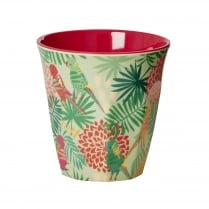 Rice Medium Two Tone Melamine Cup With Tropical Print