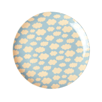 Rice Melamine Kids Plate - Cloud Print