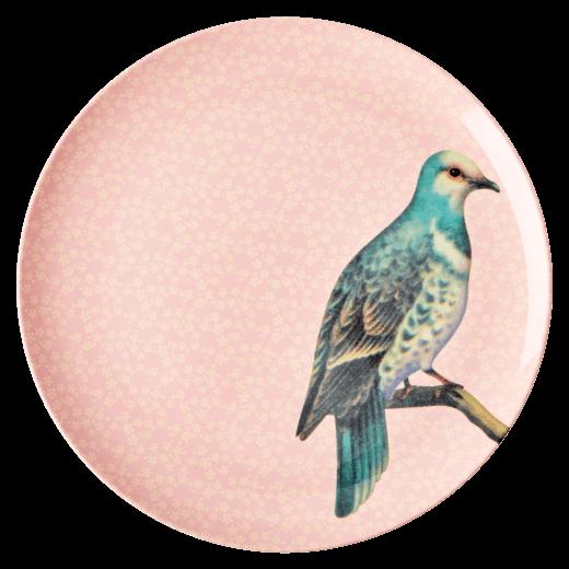 Rice Melamine Vintage Bird Dinner Plate - Soft Pink