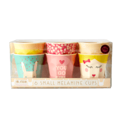 Rice Pack of 6 Small Melamine Cups with Assorted Rabbit Prints