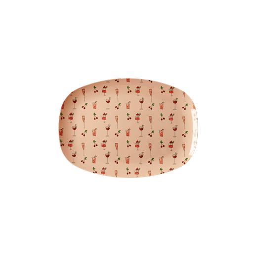 Rice Rectangular Melamine Plate Pink Cocktail