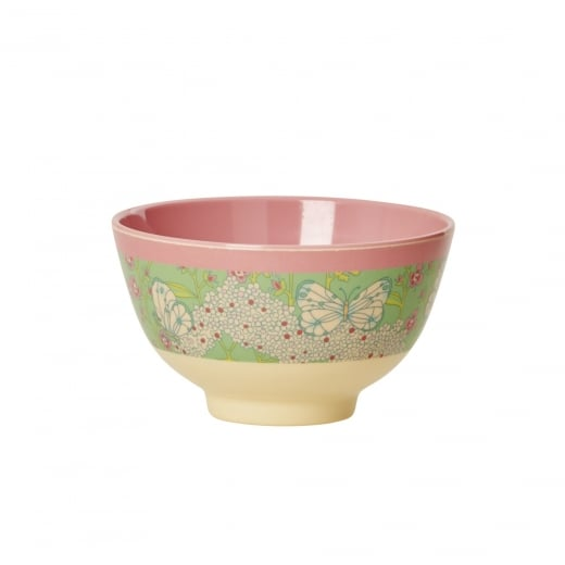 Rice Small Two Tone Melamine Bowl With Butterfly & Flower Print