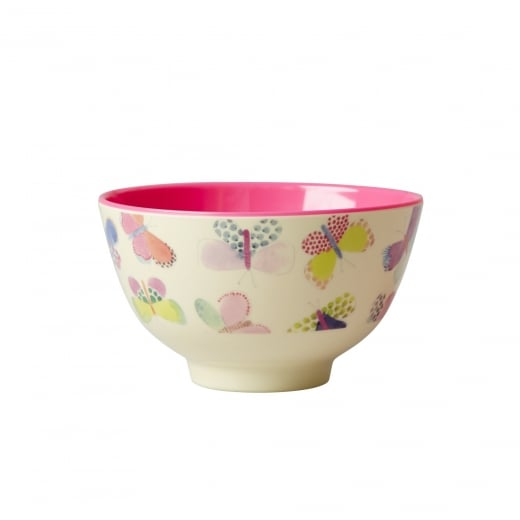 Rice Small Two Tone Melamine Bowl With Butterfly Print