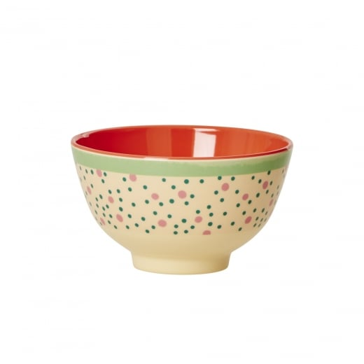 Rice Small Two Tone Melamine Bowl With Connecting The Dots Print