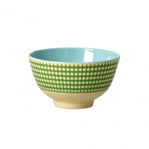 Rice Small Two Tone Melamine Bowl With Dot Print