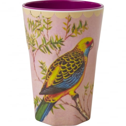 Rice Tall Melamine Cup With Vintage Budgie Print