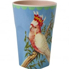 Rice Tall Two Tone Melamine Cup With Vintage Cockatoo Print