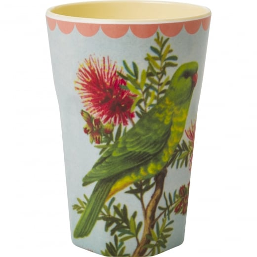 Rice Tall Two Tone Melamine Cup With Vintage Parakeet Print