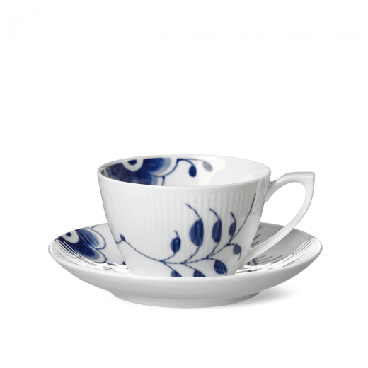 Royal Copenhagen Blue Fluted Mega Tea Cup And Saucer