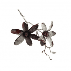 Danish Collection Frosted Magnolia Flowers with Brown Stem - Dark Red