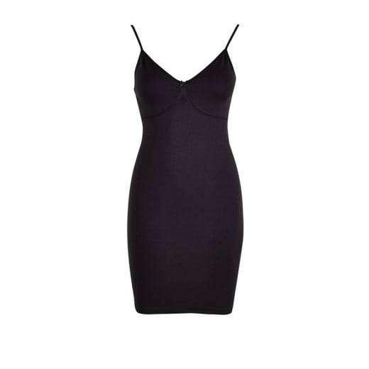 Saint Tropez Black Long Microfibre Dress