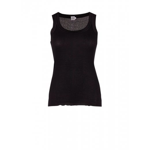 Saint Tropez Ribbed Silk Vest Top - Black