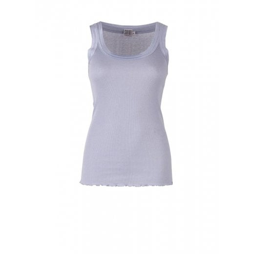 Saint Tropez Ribbed Silk Vest Top - Pale Blue