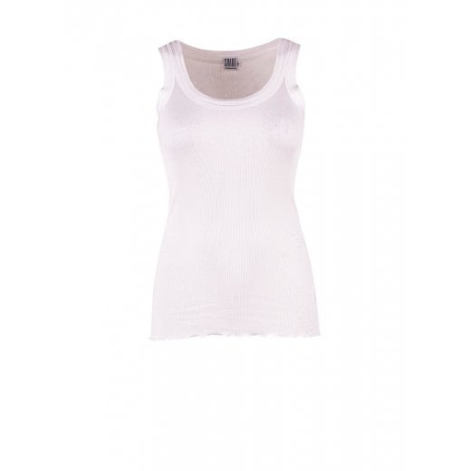 Saint Tropez Ribbed Silk Vest Top - White