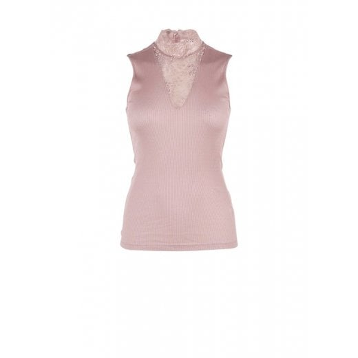 Saint Tropez Top with Lace Insert - Pink