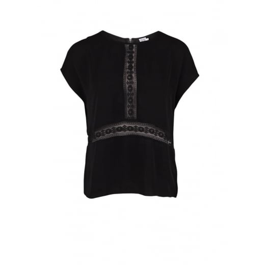 Saint Tropez Top with Lace Inserts and Zipper - Black