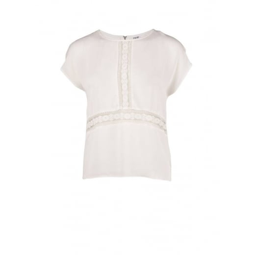 Saint Tropez Top with Lace Inserts and Zipper - White