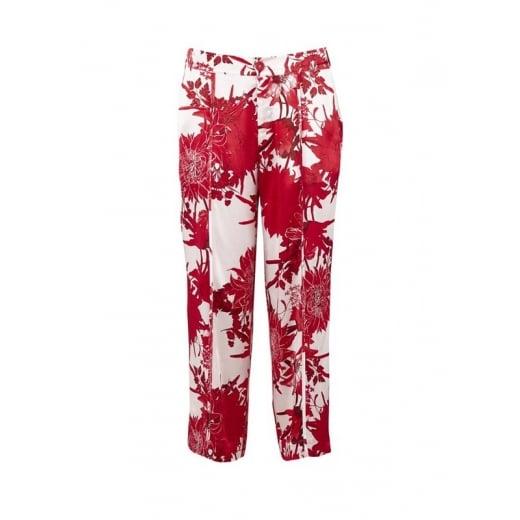Saint Tropez Trouser in Red Flower Print