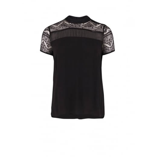 Saint Tropez Turtle Neck Blouse with Lace - Black