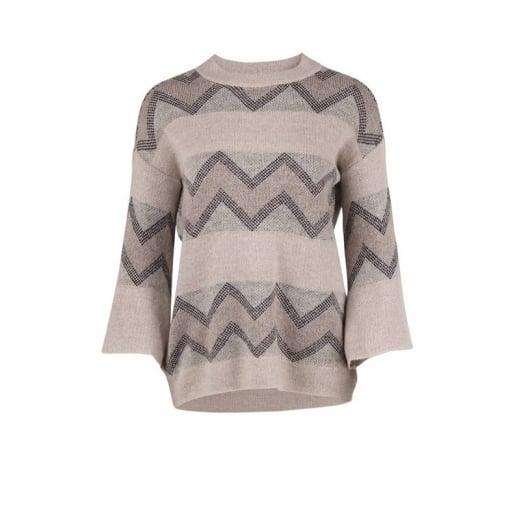 Saint Tropez Wide Sleeve Knit Blouse - Beige Melange