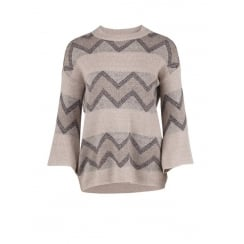Saint Tropez Wide Sleeve Knit Blouse - Beige Melange