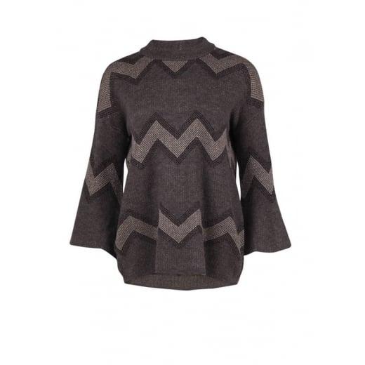 Saint Tropez Wide Sleeve Knit Blouse - Grey Melange