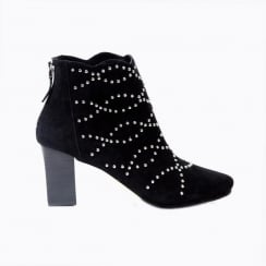 Sargossa Deluxe Black Heeled Boot in Suede with Silver Studs