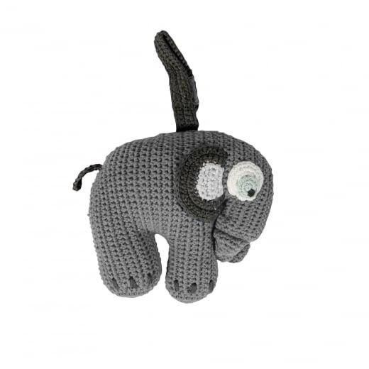 Sebra Crochet Musical Pull Toy - Grey Elephant