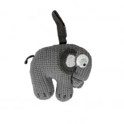 Sebra Crochet Musical Pull Toy - Grey Elephant