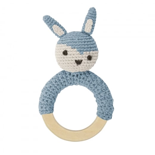 Sebra Crochet Rattle - Rabbit on Ring, Cloud Blue