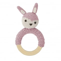 Sebra Crochet Rattle - Rabbit on Ring, Vintage Rose