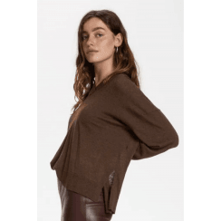 Soaked in Luxury Fannie V-Neck Maroon Pullover