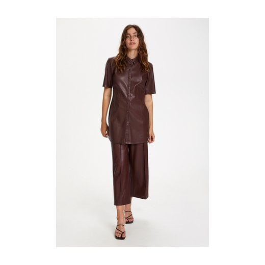 Soaked in Luxury Patrice Faux Leather Shirt - Brown