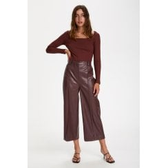 Soaked in Luxury Patrice Faux Leather Trousers- Brown