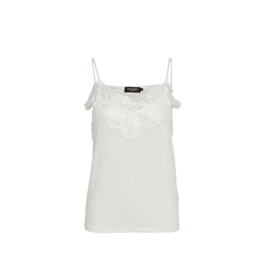 Soaked in Luxury Singlet with Lace Detail - White