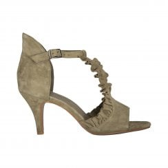 Sofie Schnoor Heeled Shoe with Ruffle Detail - Green